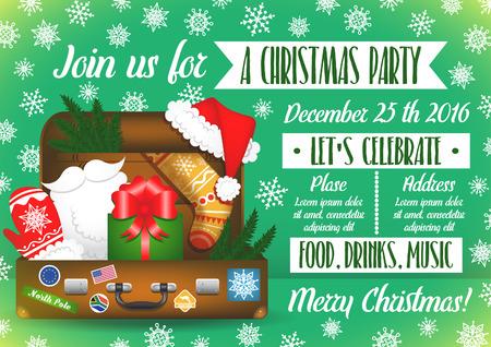 Christmas party invitation. Santa Claus travel suitcase. Santa Claus elements. Christmas decoration set.