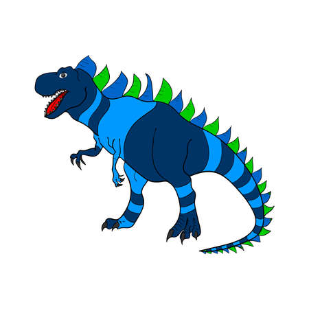 Isolated pattern with dinosaurs. Colored lizard-like dinosaurs for packaging or clothing. Saurischian dinosaurs. Raster.