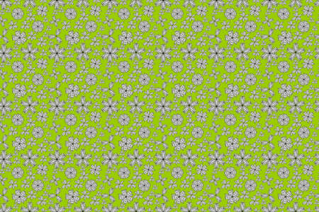 seamless pano raster pattern with white doodles flowers