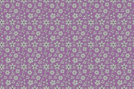 seamless pano raster pattern with white doodles flowers. Pink.