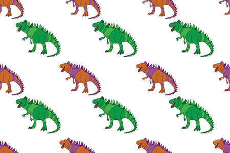 Geometric seamless pattern with dinosaurs. Colored lizard-like dinosaurs for packaging or clothing. Saurischian dinosaurs.