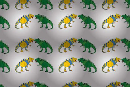 Geometric seamless pattern with dinosaurs. Colored lizard-like dinosaurs for packaging or clothing. Saurischian dinosaurs. Stock Photo