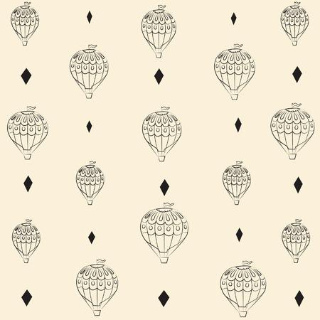 Background balloons and rhombuses seamless pattern Çizim
