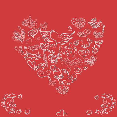 Valentines card with heart on red background, Vector illustration.