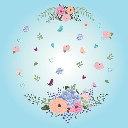 Ornament of spring from the flowers of birds and hearts