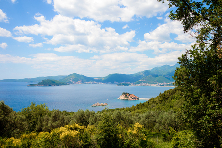 Sveti Stefan island in Budva in a beautiful summer day, Montenegro Stock Photo