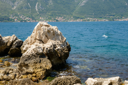 View of Bay of Kotor on a sunny day. Montenegro