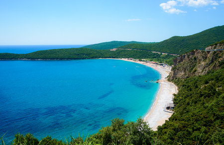 Beach Jaz Adriatic Sea. Top view from mountain
