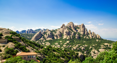 Montserrat mountain, Catalonia, Barcelona, Spain Sunny day blue sky Beautiful landscape Stock Photo