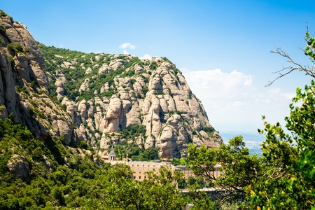 Montserrat mountain, Catalonia, Barcelona, Spain Sunny day blue sky Beautiful landscape 写真素材