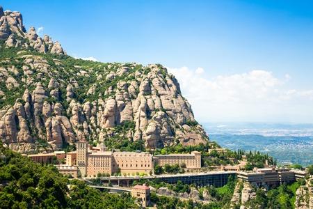 Montserrat Monastery is located on the mountain of Montserrat, Catalonia, Barcelona, Spain day blue sky Beautiful landscape