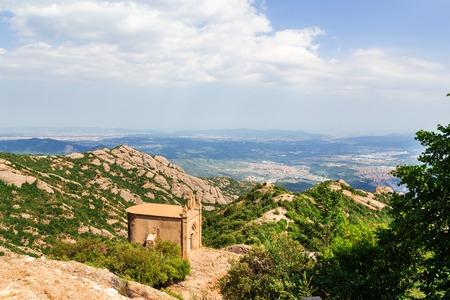 Sant Joan chapel in the mountains of Montserrat Monastery, Catalonia, Barcelona, Spain Sunny day blue sky Beautiful landscape