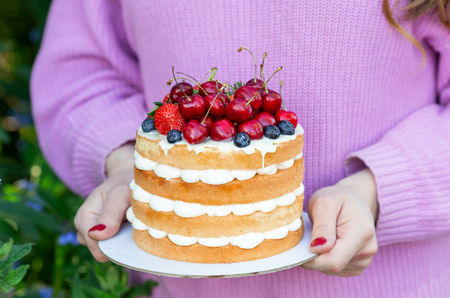 Homemade summer biscuit cake with cream and fresh berries in woman hands In the garden Lilac Soft focus 写真素材