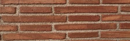 Red brick wall texture grunge background, panorama of masonry