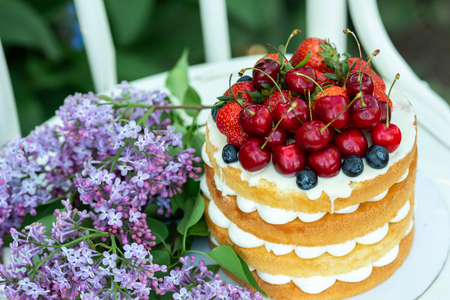 Homemade summer biscuit cake with cream and fresh berries In the garden Lilac Soft focus
