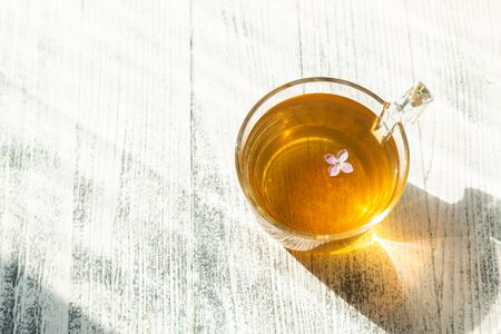 Cup of herbal tea on wooden background. Glass cup. Rays of sunlight - Image Archivio Fotografico - 133359621