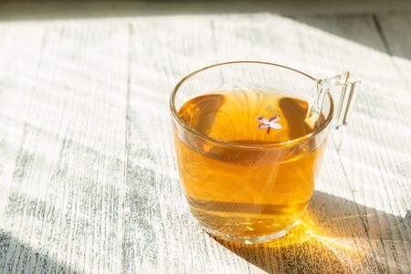 Cup of herbal tea on wooden background. Glass cup. Rays of sunlight - Image Archivio Fotografico - 133359622
