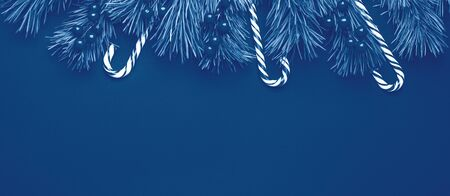 Christmas background with tree branches, candy cane and holly on black wooden background. Horizontal banner. Color of the year 2020 classic blue toned - Image