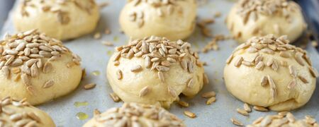 Raw yeast buns with seeds before baking. Cooking homemade buns. Soft focus - Image