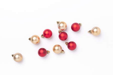 Minimal christmas composition. Golden and red christmas balls on white background - Image