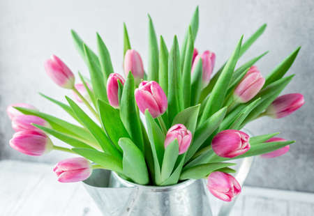 Spring floral background. Pink tulip flowers bouquet on on the windowsill. Copy space- Image
