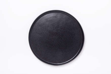 Empty ceramic plate on white background Copy space Top view - Image 版權商用圖片