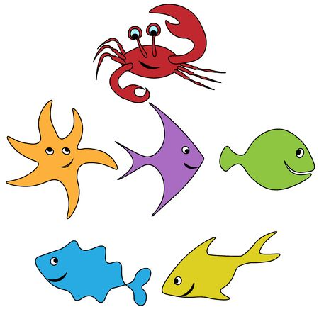 funny figures set of fishes and crab smiling pattern