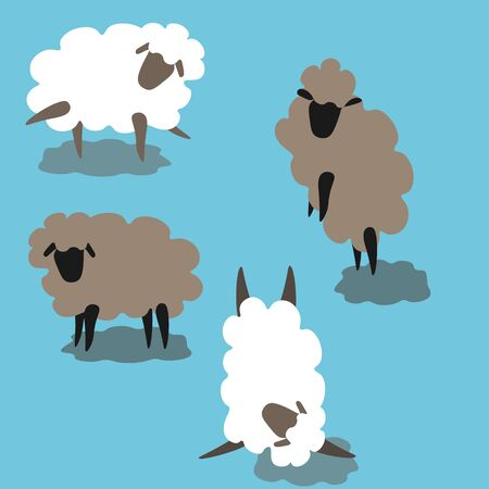 Hand drawn doodle figurines of sheep in different positions white and gray pattern. T shirt print, postcard and banner design elements
