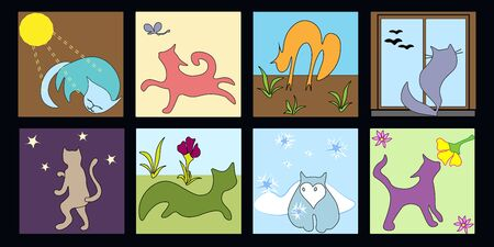 set of cute funny cats in the plots seasons