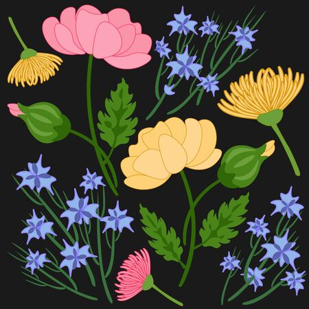 floral pattern on a black background seamless