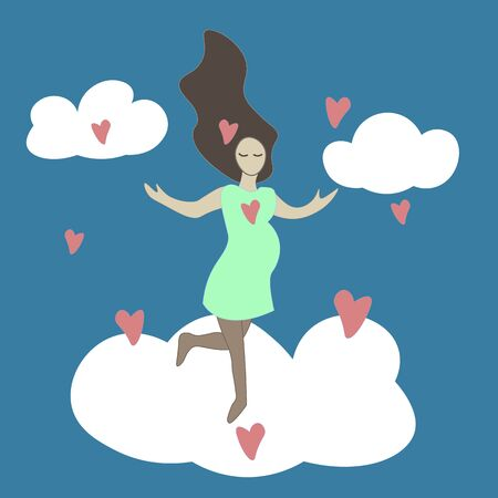 Hand drawn doodle Pregnant young woman in the clouds with hearts. T shirt print, postcard, banner element design.