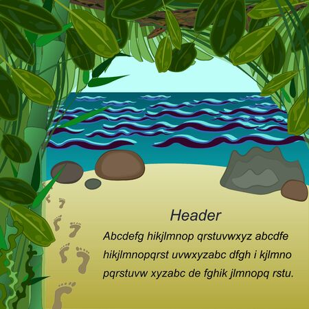 Shore of the Sea Palm Leaves with place of text Illustration