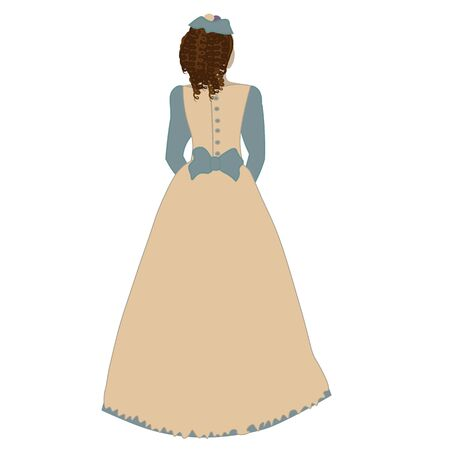 hand drown lady in eighteenth-century clothes stands with her back. Иллюстрация