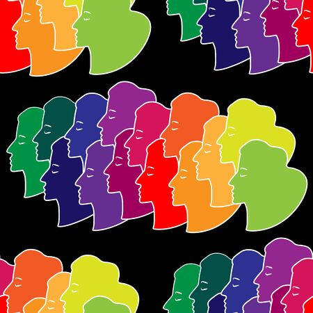 silhouettes of woman faces seamless multicolored pattern