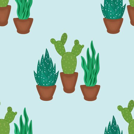 succulents and cactus in pots hand drawn seamless pattern.