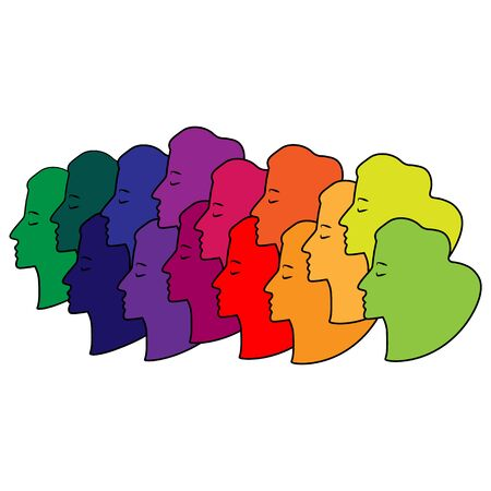 silhouettes of woman faces multicolored pattern.