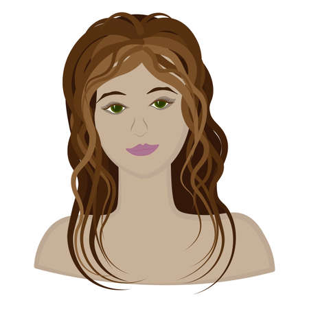 face and shoulders of a girl - a beauty or a fairy princess. Stock Illustratie