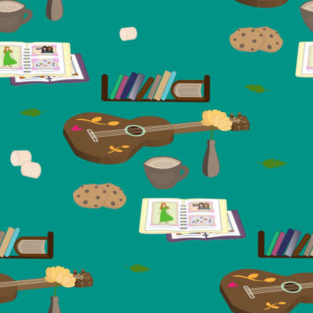 guitar coffee books photo album seamless pattern