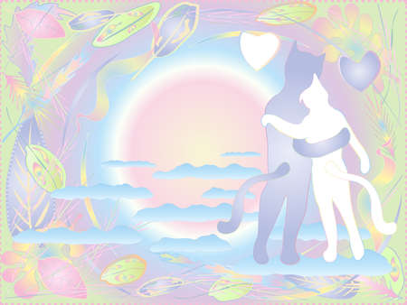 Tender postcard for lovers. Cute cats hugging on the clouds. Ready template for print or design in soft light colors.