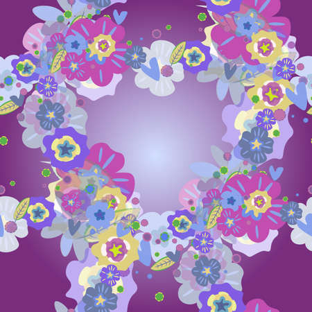 floral seamless pattern in purple and blue tones