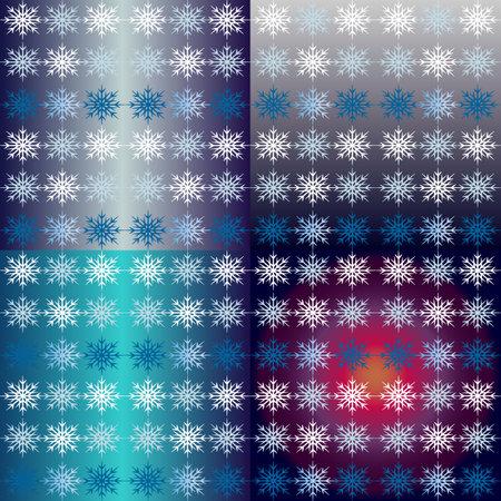 Winter snowflake pattern on 4 gradient. Nordic background