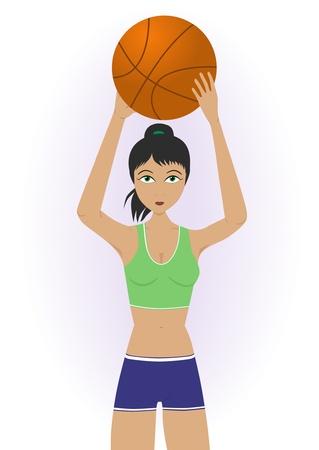 女の子のバスケット ボールを投げる  イラスト・ベクター素材