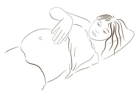 pregnant woman looking at her belly