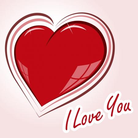 光沢のあるハートの形の愛の宣言  イラスト・ベクター素材