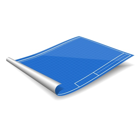 construction paper art: blank blueprint isolated on the white background