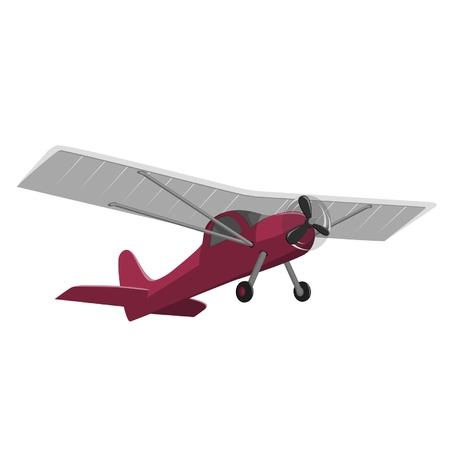 flown: red airplane isolated on white background Illustration