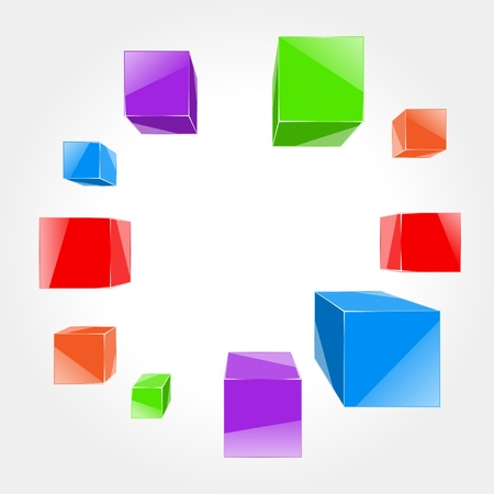colorful cubes flying out of the center Illustration