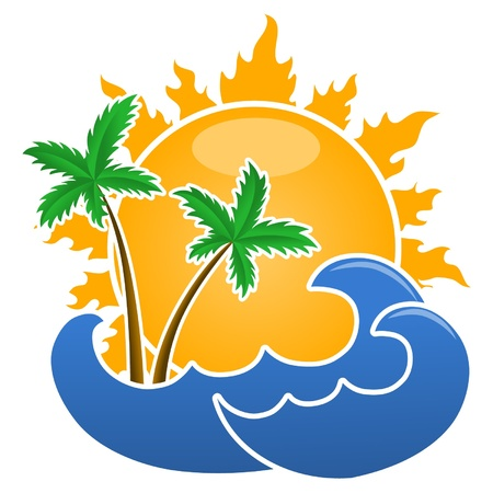 sun palm waves isolated on the white background Vector