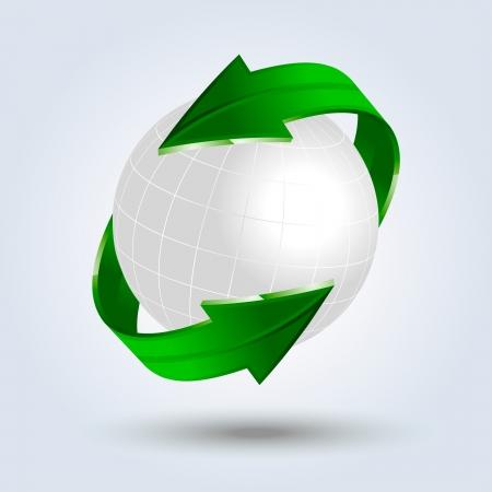 green arrows around the globe Illustration