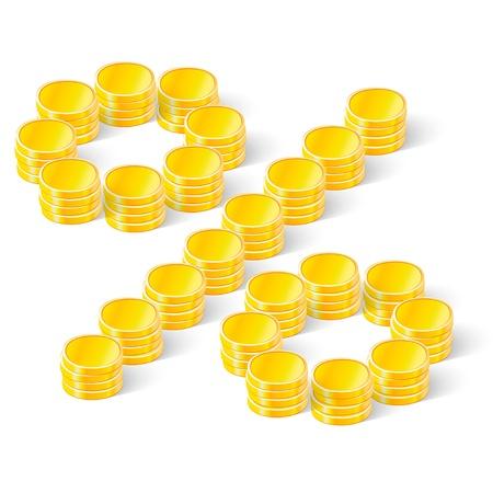 パーセント記号の硬貨のスタック  イラスト・ベクター素材